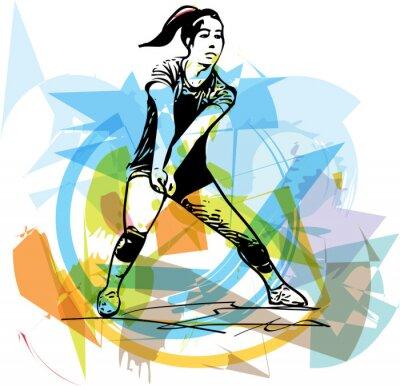 Poster Illustrazione di pallavolo giocatore gioco