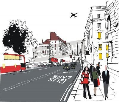 Poster illustrazione di pendolari su London strada cittadina