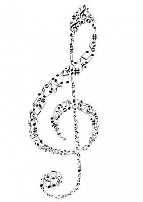 Poster Illustrazione di un clef G con note di musica
