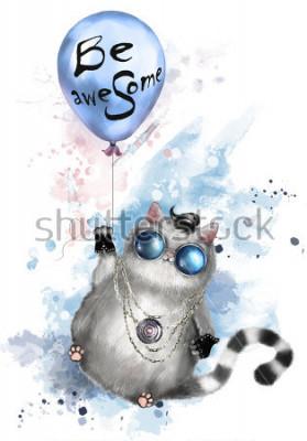 Poster Illustrazione di un gatto carino in stile rocker, con occhiali rotondi e gioielli. Gatto che vola su un palloncino con scritte - sii fantastico. pittura ad acquerello Splash. T-shirt, stampa cool.