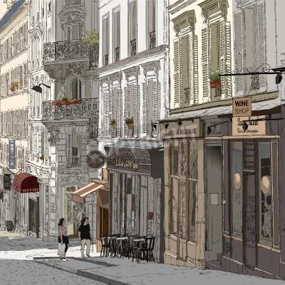 Poster illustrazione di una strada a Montmartre di Parigi