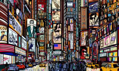 Poster Illustrazione di una strada a New York City - Times Square - illustrazione vettoriale
