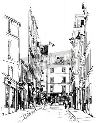 Poster illustrazione di una strada nei pressi di Montmartre a Parigi
