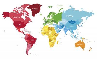 Poster Illustrazione di vettore di mappa politica mondiale con colori diversi per ogni continente e toni diversi per ogni paese. Livelli modificabili e chiaramente etichettati.