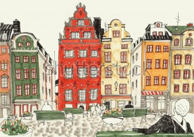Poster Illustrazione disegnata a mano variopinta delle case della stoccolma, schizzo della via della città europea. Inchiostro e pennarelli