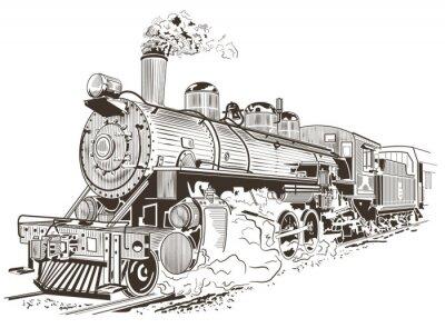 Poster illustrazione locomotiva a vapore in stile vintage