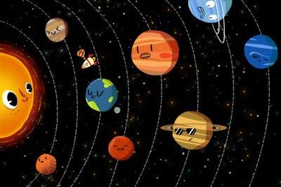 Poster Illustrazione per bambini: I pianeti nel sistema solare felice. Realistico Fantastic Cartoon Style Artisti / Storia / scena / Wallpaper / Sfondo / carta di progettazione.