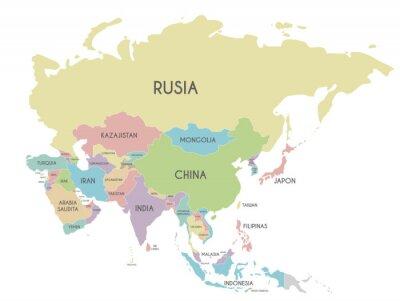 Poster Illustrazione politica di vettore della mappa dell'Asia isolata su fondo bianco con i nomi di paese nello Spagnolo. Livelli modificabili e chiaramente etichettati.