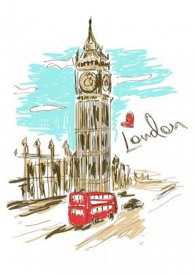 Poster Illustrazione Sketch di Big Ben torre