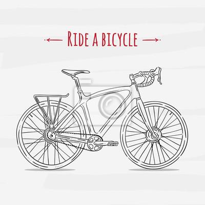 Poster Illustrazione Vettoriale Bicicletta Disegno Moto Sketch Trasporto