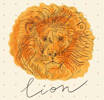 Poster illustrazione vettoriale con testa di leone