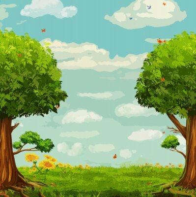 Poster Illustrazione vettoriale di bella scena di bosco con alberi e cielo