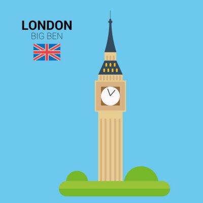 Poster Illustrazione vettoriale di Big Ben (Londra, Regno Unito). Monumenti Collection. EPS 10 file compatibile e modificabili.