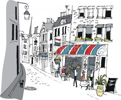 Poster Illustrazione vettoriale di cafe a Parigi, in Francia.