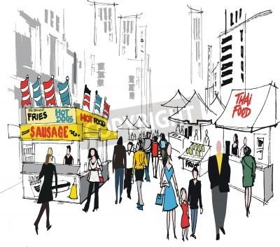 Poster Illustrazione vettoriale di Market Street, New York.