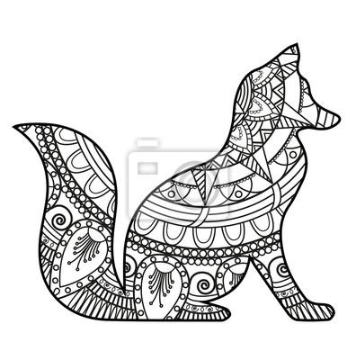 Illustrazione Vettoriale Di Un Mandala Volpe In Bianco E Nero
