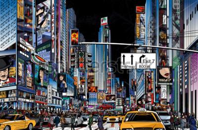 Poster Illustrazione vettoriale di una strada a New York City durante la notte