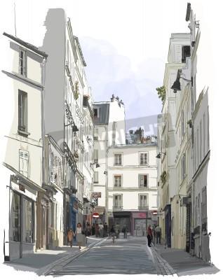 Poster Illustrazione vettoriale di una strada nei pressi di Montmartre a Parigi