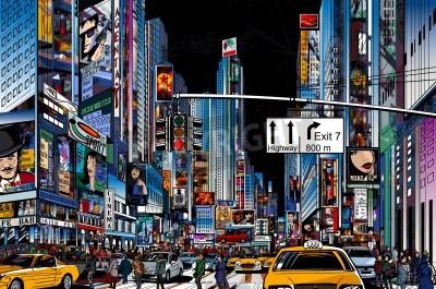 Poster Illustrazione vettoriale di una strada nella città di New York di notte
