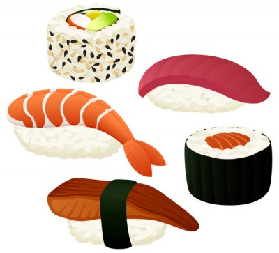 Poster Illustrazione vettoriale di una varietà di sushi.