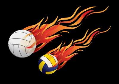 Poster illustrazione vettoriale pallavolo lo sport pompieristico