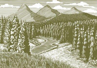 Poster illustrazione Xilografia stile di un paesaggio di montagna con un flusso che l'attraversa.