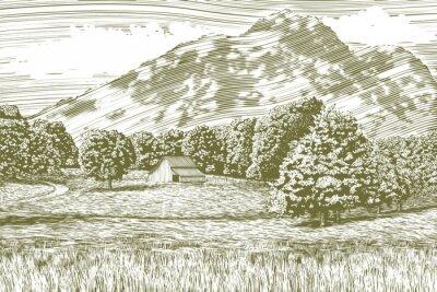 Poster illustrazione Xilografia stile di una fattoria e fienile con una montagna in background.