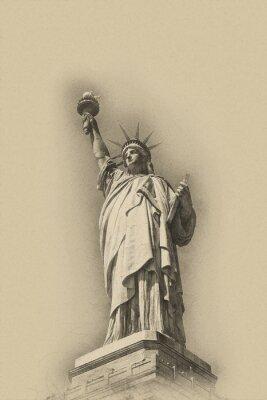 Poster immagine artistica della statua della libertà tonalità seppia