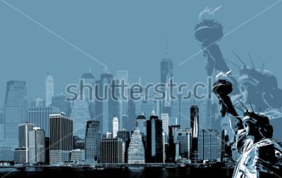 Poster Immagine astratta di manhattan. Simboli di New York. Skyline di Manhattan e la statua della libertà di New York. Poster di Arte contemporanea e stile in blu