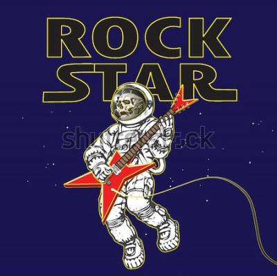 Poster immagine vettoriale di un astronauta nell'immagine di un musicista rock nello spazio nello stile della grafica dei cartoni animati