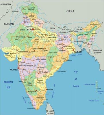 India Politica Cartina.India Altamente Dettagliata Mappa Politica Modificabile Con Manifesti Da Muro Poster Kolkata Rupia Bombay Myloview It