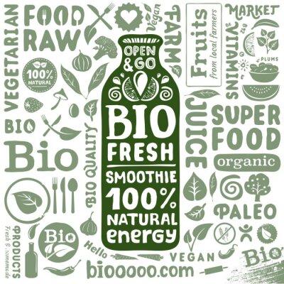 Poster Insieme dei contrassegni organici e icone per i prodotti alimentari bio naturali