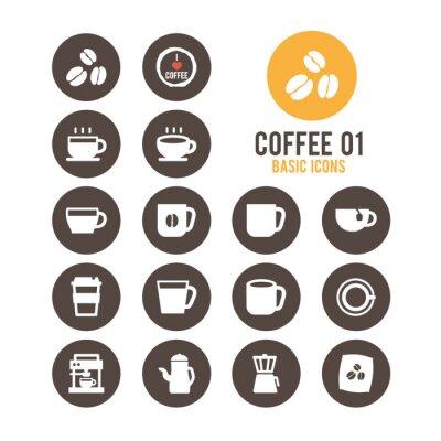 Poster Insieme dell'icona del caffè. Illustrazione vettoriale.