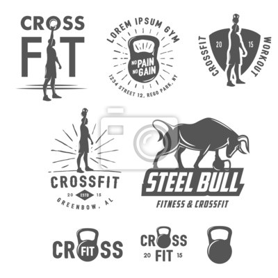 Poster Insieme di elementi di design vintage e emblemi CrossFit