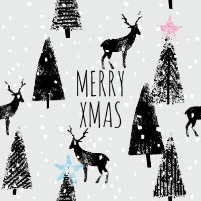 Poster inverno foresta disegnato a mano modello di moda