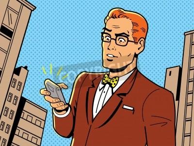 Poster Ironico Illustrazione di un uomo Retro 1940 o 1950 con gli occhiali, Papillon e Smartphone Moderno