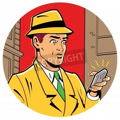 Poster Ironico satirica Illustrazione di un Retro Classic Comics Man With a Fedora e un moderno smartphone
