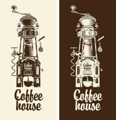 Poster Iscriviti casa Retro caffè e con il tetto