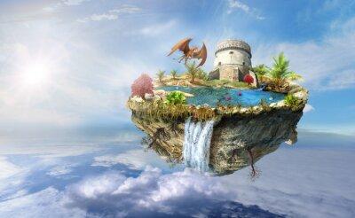 Poster isola drago vola nello spazio