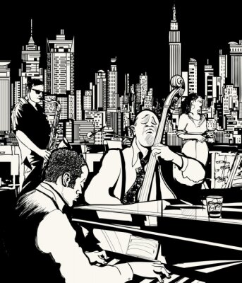 Poster Jazz band che gioca a New York