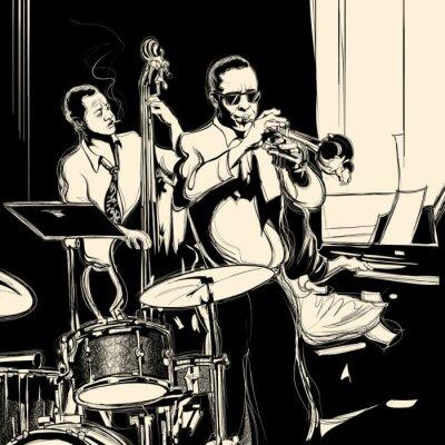 Poster Jazz band con contrabbasso tromba pianoforte e tamburo