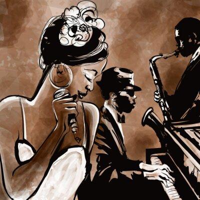 Poster Jazz band con il cantante, sassofono e pianoforte - illustrazione