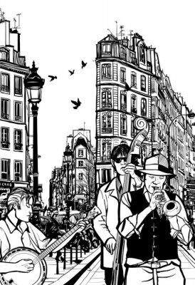 Poster Jazz band in una strada di Parigi