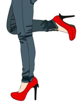 Jeans sexy e scarpe rosse manifesti da muro • poster dinamismo ... d90be566cb4