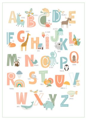 Poster Kids english alphabet, A to Z with cute cartoon animals. Editable vector illustration