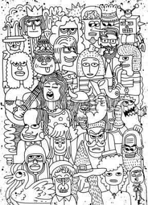 Poster L'icona di vettore della folla dei fronti del fumetto scarabocchia il modello disegnato a mano, stile di scarabocchio