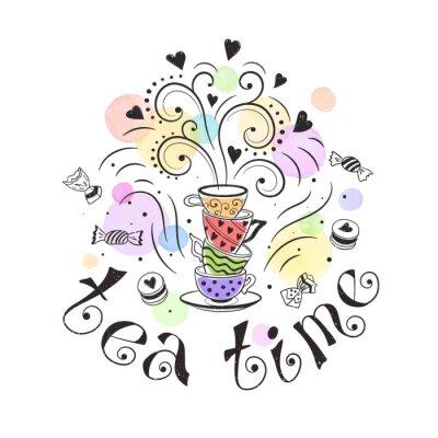 Poster L'ora del tè concetto di poster. progettazione di tè tessera di partito. Mano illustrazione Doodle disegnato con teiere, tazze e dolci.