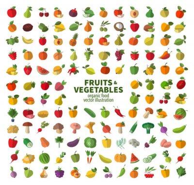 Poster La collezione di icone di frutta e verdura. Il cibo fresco