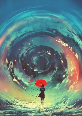 Poster la ragazza con l'ombrello rosso fa un vorticoso acqua nel cielo, stile di arte digitale, pittura dell'illustrazione