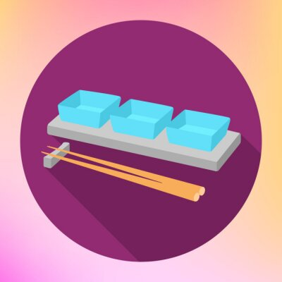 Poster la salsa di soia e le bacchette salsiera con un segno vettore piatta. Piastra Sauceboat con la bacchette per servire Cucina giapponese.
